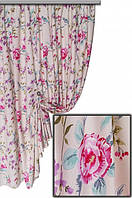 """Ткань для штор, скатертей и оббивки мебели в стиле прованс """"Лаки"""", 70 % хлопок, крупный розовый цветокок"""
