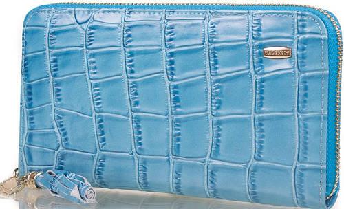Легкий яркий  женский кожаный кошелек  VALENSIY (ВАЛЕНСИ) DSA01324155-sky-blue (голубой)
