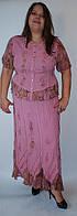 Костюм женский (блузка с юбкой) розовый, на 52-54 размеры