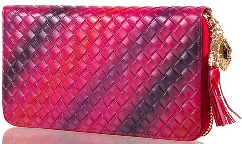 Молодежный яркий кошелек из кожи   VALENSIY (ВАЛЕНСИ) DSA01324124-dark-red (розовый)