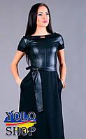 Вечернее платье Черника, Джерси + экокожа, черное/синее