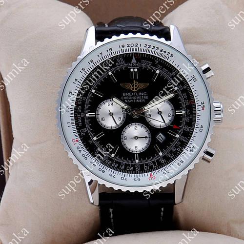 Практичные наручные мужские часы Breitling Quartz Silver/White-Black 207