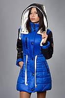 Зимняя женская молодежная куртка. Код К-50-12-15. Цвет ярко синий с черным.