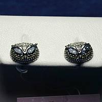 Красивые серебряные серьги девочке Сова с камнями 2100