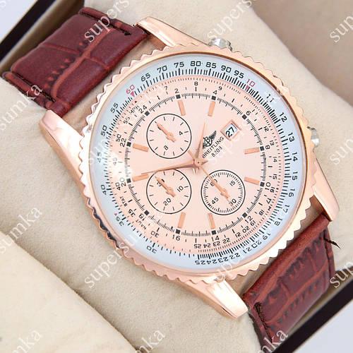 Яркие наручные часы Breitling Pink-Gold/Pink-Gold 1002-0010 для мужчин