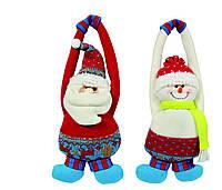 Подвеска Дед Мороз Снеговик  27см, в ящ. микс 2 вида