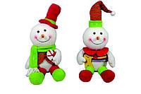 Мягкая новогодняя игрушка Снеговик 21см в ящ микс