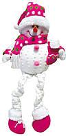 Мягкая новогодняя игрушка Снеговик 65 см розовый