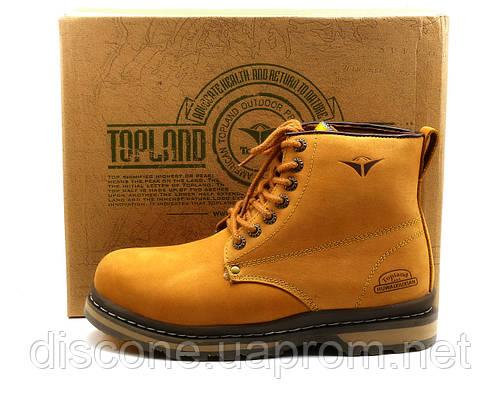 Зимние ботинки Topland, натуральные кожаные, мужские, на меху