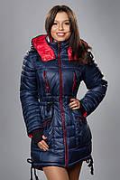 Зимняя женская молодежная куртка-парка. Код К-48-12-15. Цвет синий с красным.