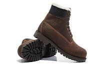 Ботинки мужские Classic Timberland 6 inch Brown Winter Edition (тимберленд, оригинал) на меху коричневые