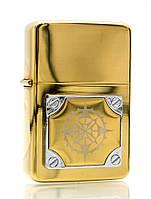 Зажигалка бензиновая, бронзовая, в подарочной упаковке