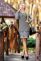 """Платье классического приталенного силуэта с длинными рукавами """"Жаккард,широкие манжеты"""" РАЗНЫЕ ЦВЕТА"""