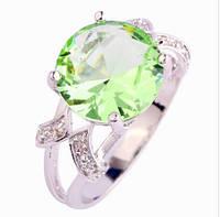 Кольцо с зеленым аметистом,покрытое серебром р 21,22 код 822