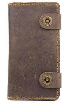 Стильное кожаное мужское портмоне на кнопках Black Brier П-17-33 коричневый