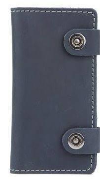 Солидное кожаное мужское портмоне на кнопках Black Brier П-17-97 темно-синий