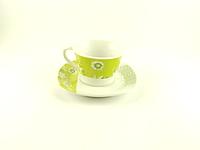 Чашка кофейная с блюдцем 100 мл Зеленая