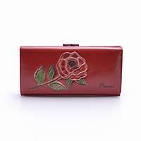 Элегантный женский кошелёк из экокожи 207-C243B красного цвета
