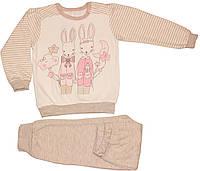 Пижама кофейно-молочная с зайцами, теплая, для девочки, рост 116 см, Ля-ля