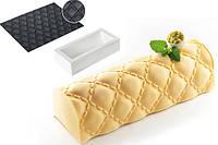 Силиконовая форма для десертов Silikomart Kit Buche+TEX03Matelasse 250х90mm.h=70 (Италия) (04431)