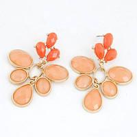 Яркие летные серьги гвоздики с крупными оранжевыми камнями