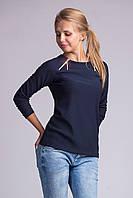 Стильный жеский блузон из крепового трикотажа т.синий