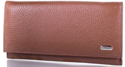 Оригинальный  женский кожаный кошелек  CANPELLINI (КАНПЕЛЛИНИ) SHI15710-brown (коричневый)