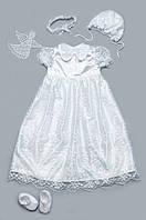 Комплект крестильное платье для девочки с гипюром (белый)