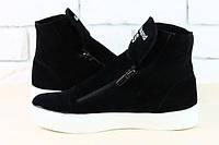 Замшевые зимние ботинки на двух змейках