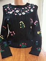 Свитер женский черный Dolce & Gabbana косы вышивка