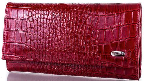 Яркий  женский кошелек из кожи  CANPELLINI (КАНПЕЛЛИНИ) SHI346-1LKR (красный)