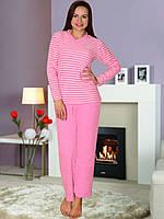 Теплая розовая махровая пижама