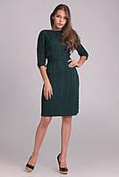 Теплое вязаное платье с красивым  ажурным узором из кос