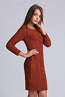 Стильное платье-туника  вязаное крупной вязки и узор из кос