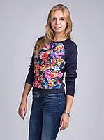 Актуальный молодежный свитшот   из стеганной ткани  с цветочным принтом