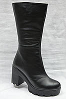 Черные кожаные зимние сапоги.Украина.
