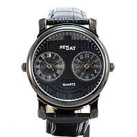 Кварцевые наручные часы с двумя отдельными механизмами Double Time Svart