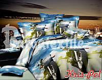 Детский комплект постельного белья Мотоциклы 3Д полуторный, ранфорс 100% хлопок. (арт.4274)