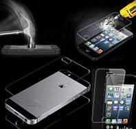 Противоударные защитные каленые прозрачные стекла ( перед+зад) на обе панели для Iphone 5/5S/5SE