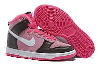 Зимние женские кроссовки Nike Dunk pink-black с мехом