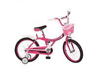 Детский двухколесный велосипед 16 дюймов Profi 16BX406-2, малиновый