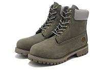 Ботинки мужские  Classic Timberland 6 inch Khaki Grey Boots (тимберленд) серые