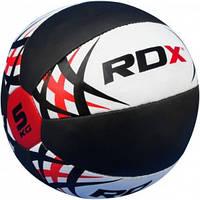 Медицинбол, медбол из воловьей кожи RDX Red 5 кг.  Красный, черный