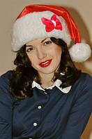 Новогодняя шапка санты красная для Взрослых с бантиком