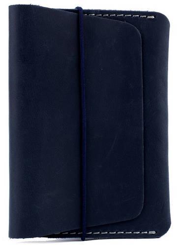 Компактная обложка для паспорта на резиновой застежке из натуральной кожи Black Brier ОП-7-97 темно-синий