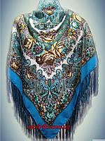 Шерстяной платок 120х120 Голубой, принт осень 2015