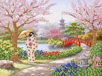 Схема на ткани для вышивания бисером Сад цветущей сакуры РКП-426