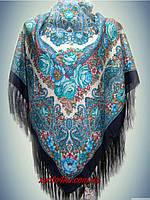 Шерстяной платок 120х120 Темно-синий, принт осень 2015