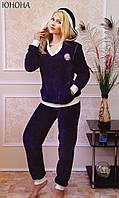Махровый/велюровый домашний костюм,пижама с капюшоном и карманами ЮНОНА FLEUR Lingerie