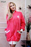 Женский теплый халат с капюшоном махра/велюр АИДА FLEUR Lingerie